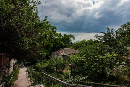 Dramatic top view of gardens and sky in Mariupol, Ukraine