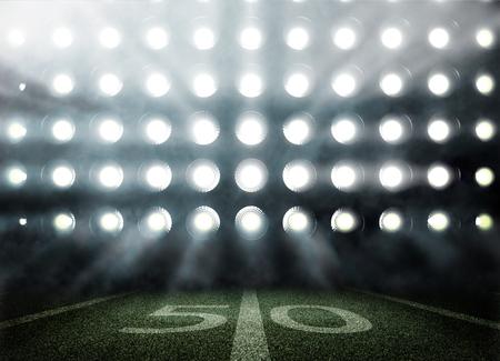 Illustartion of stadium with lights and tribunes in 3d Stock Photo