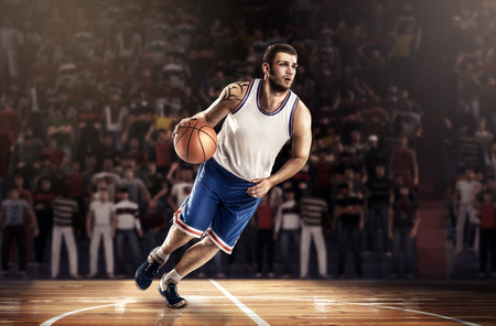 basketball player with ball on professional court 3D render