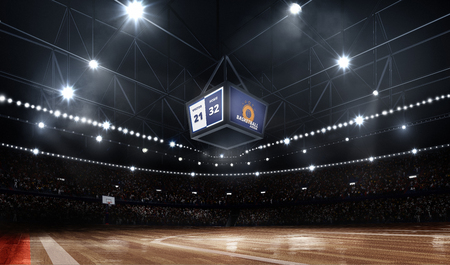 Professional durk basketball court arena in lights with fans