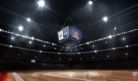 Professionele durk-basketbalveldarena in verlichting met fans Stockfoto