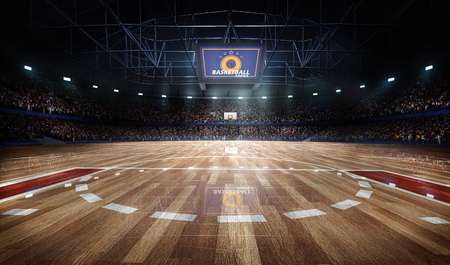 side viewing: Professional basketball court arena with tribune and light,