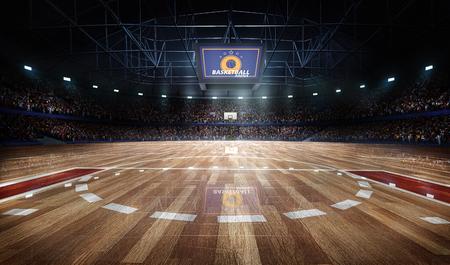 Professionele basketbalveldarena met tribune en licht,