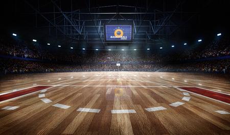 Professionele basketbalveld arena in lichten met fans 3d rendering