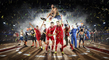 successful football, soccer, basketball, baseball, tennis players, boxing fighters on professional 3D court