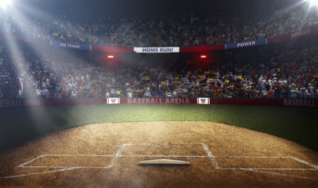Professional baseball arena side view in lights