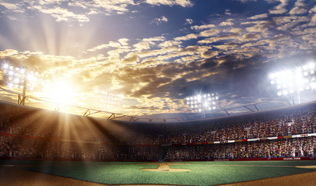 Professional baseball arena grande, sunset view, 3d rendering Foto de archivo
