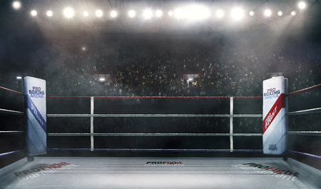 professional boxing arena in lights 3d rendering