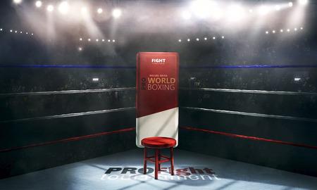 arène de boxe professionnelle dans des lumières avec le rendu 3d de chaise
