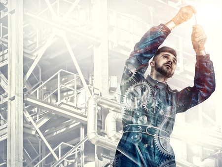 oil and gas industry: Portrait of a worker on factory background Stock Photo
