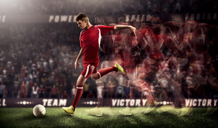 Soccer players in action on stadium background 3d rendering Banco de Imagens
