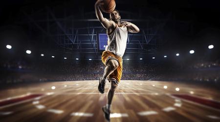 one basketball player jump in stadium panorama view Banco de Imagens