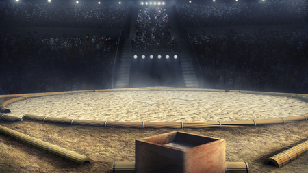 sumo professional arena in lights 3d rendering Banco de Imagens
