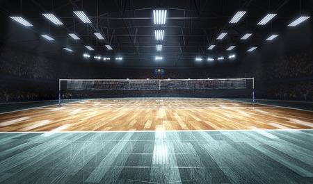 Leeg professioneel volleyballhof in lichten Stockfoto