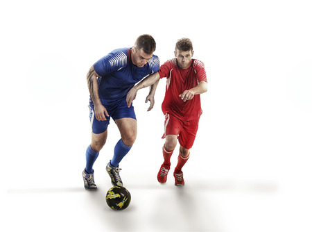 Soccer players in action on isolation with ball