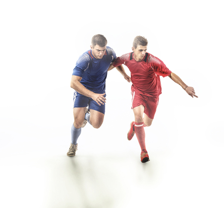 Soccer players in action on isolation Banco de Imagens