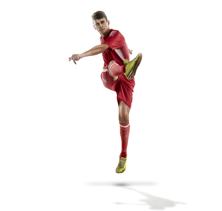 Soccer player in action on isolation