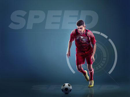 Soccer player in action with ball