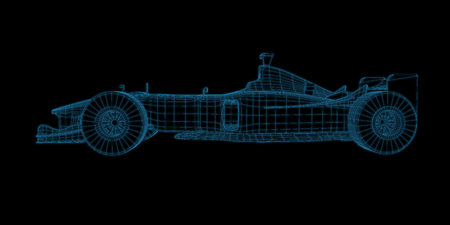 racing car 3d wireframe