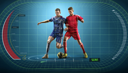 Soccer players in action on the interactive display object-finder background