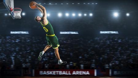 Basketball player jump in stadium panorama view