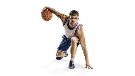 one basketball player jump isolation Banco de Imagens