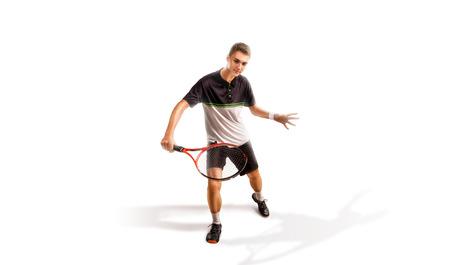 Un joueur de tennis isolé sur fond blanc Banque d'images - 92789999