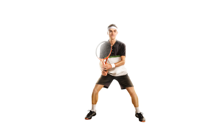 A tennis player isolated on white background