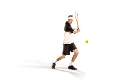 Un joueur de tennis isolé sur fond blanc Banque d'images - 92762112