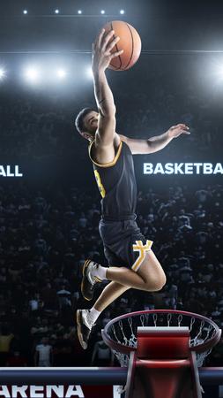 Un joueur de basket-ball saute dans le stade vue panoramique Banque d'images - 92758245