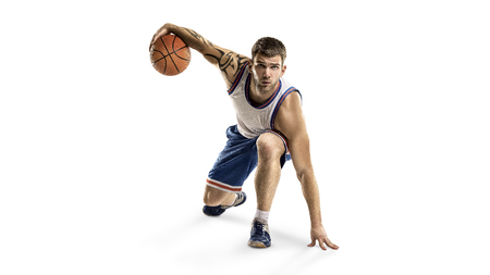 A basketball player jump isolated on a white background