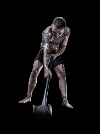 MMA fighter with hammer isolated Banco de Imagens