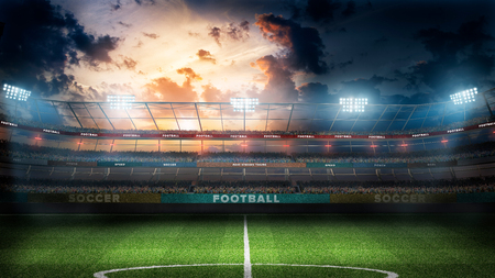 Stade de football vide en rayons lumière nuit illustration 3d Banque d'images - 94754083