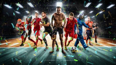 Players of different sports on the volleyball stadium 3D rendering Фото со стока