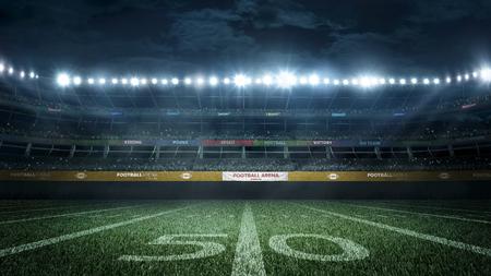 lege voetbalstadion in lichte stralen 's nachts 3D-rendering