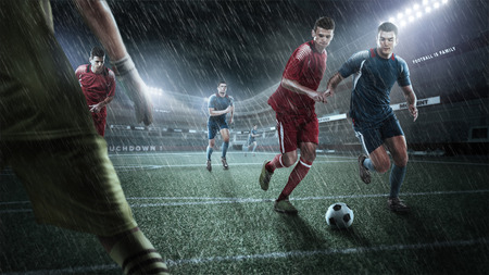 Brutal Soccer action on rainy 3d sport arena. mature player with ball