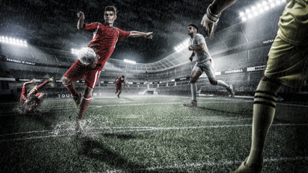 Brutal Soccer action on rainy 3d sport arena. mature player with ball Banco de Imagens - 95594366