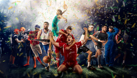 players of different sports on the football stadium 3D rendering