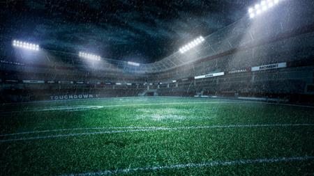 Stade de football vide dans les rayons de lumière à la nuit illustration 3d Banque d'images - 96144114