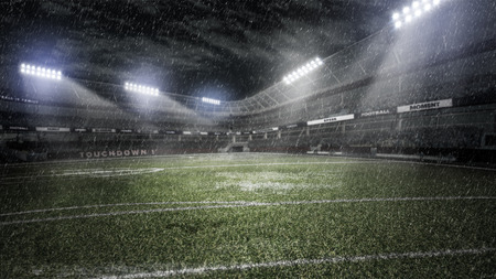 rainy soccer stadium in light rays at night 3d illustration Banco de Imagens - 96145372