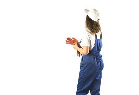 Portret van een arbeider op witte isolatie