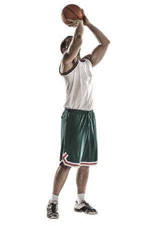 een basketbal speler sprong isolatie