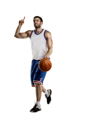 one basketball player jump isolation Banco de Imagens - 99318789