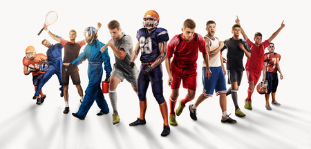 players of different sports isolated on white