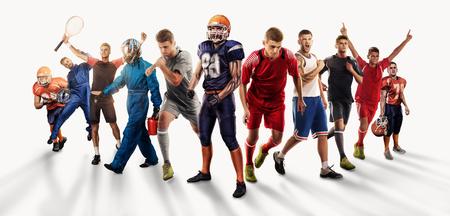 giocatori di diversi sport isolati su bianco Archivio Fotografico