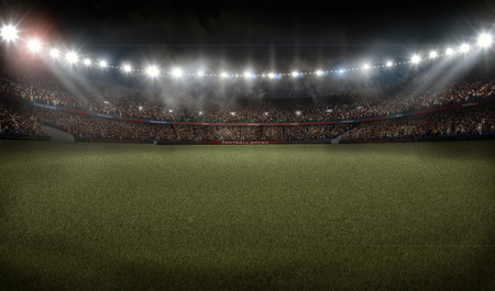 american football soccer stadium with grass 3D rendering Banco de Imagens