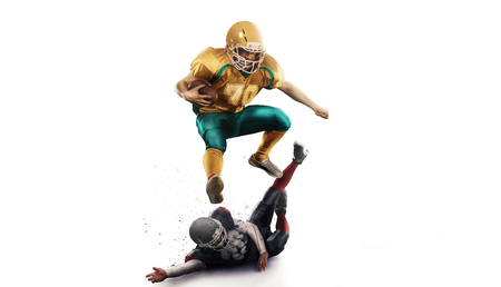 American football player in action isolated white