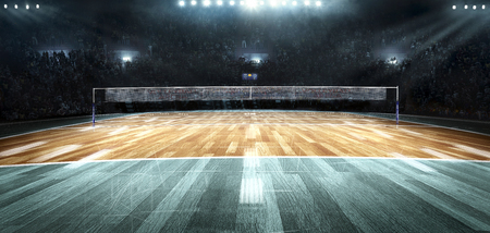 Empty professional volleyball court in lights Banque d'images - 104827524