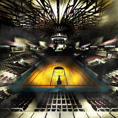 Professional basketball court arena in lights 3d illustration