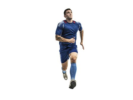 Soccer player in blue uniform running on white isolation